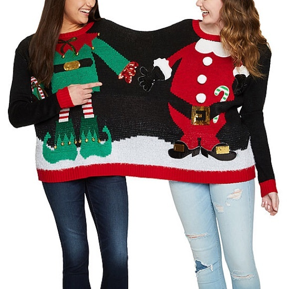 HOLIDAY TIME TWO PERSON UGLY CHRISTMAS SWEATER NWT